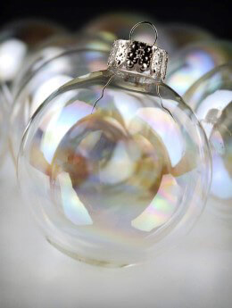 Clear Glass Ornaments Iridescent 2 3/8in | Box of 10