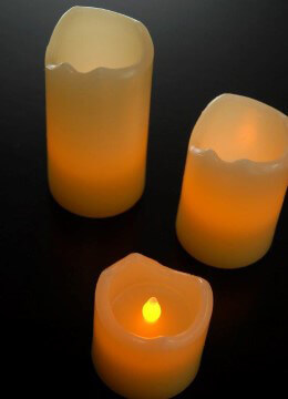 Battery Operated LED Pillar Candle Set | Ivory