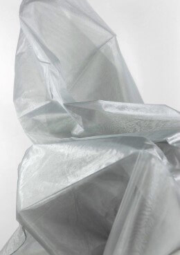 Organdy Metallic Silver Fabric w/Finished Seams 54in x 108in
