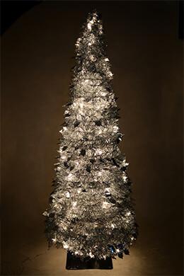 Accordion Tree Silver Metallic 7ft