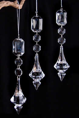 3 Acrylic Crystal Chandelier Drops 7.25in, Crystal Decorations