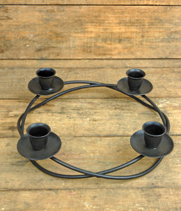 Metal Advent Wreath Black