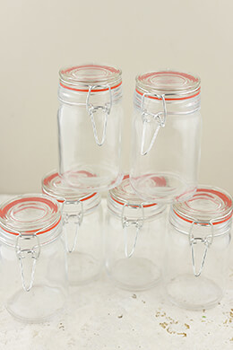 "10-  4.5"" Airtight Mini Jars Red Gaskets"