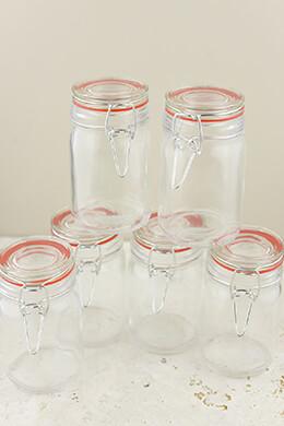 "10-  4.5"" Airtight Mini Jars Red Gaskets"