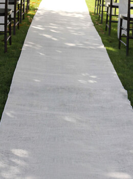 "White Burlap Aisle Runner  36"" x  100ft"