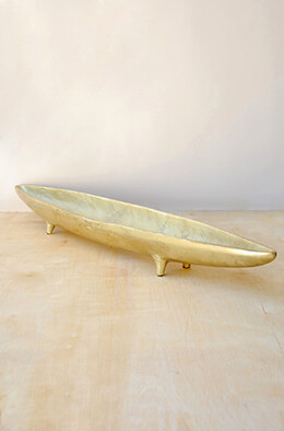 Aluminum Footed Boat Bowl Gold 32in