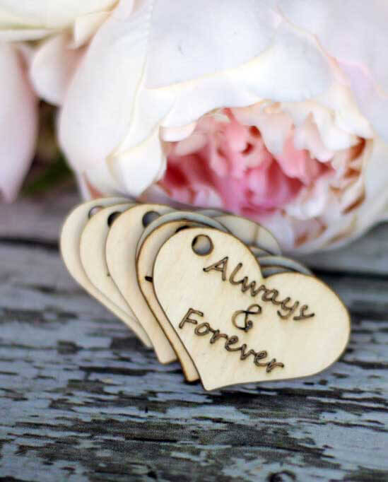 "Wood Heart Tags ""Always & Forever"" 