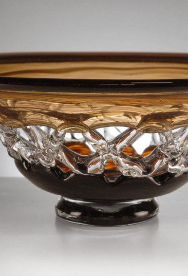 Amber Glass Lace Bowl 15""