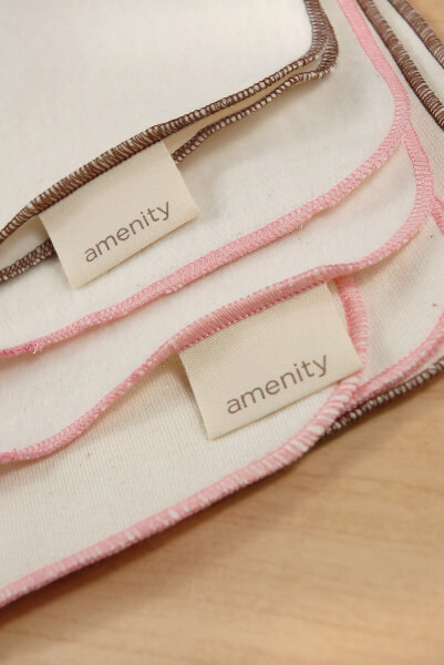 Amenity (4) Organic Wash Cloths Petal Pink & Cocoa