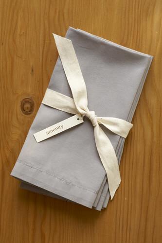 Amenity Organic Grey Cotton 300 count Napkins (4 napkins)
