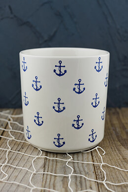 Blue Anchor Stoneware Crock 6.25in