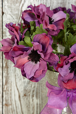 12 Anemone Spray Purple 15in