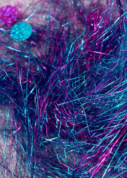Angel Grass Tinsel Sequin Shred Hot Pink Blue   1.4 ounce pkg