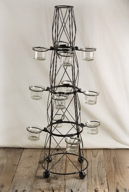 Antique Metal Cone Candle Holder Tree