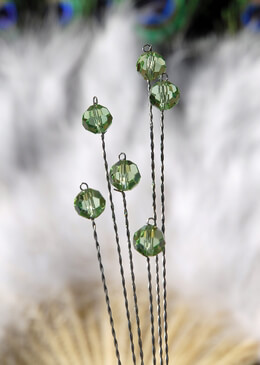 6 Bouquet Crystals on Wire Stem, Green