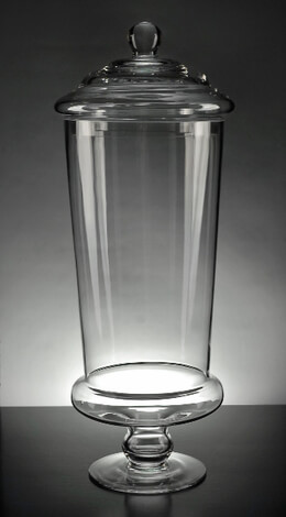 "Large Pedestal Glass 19"" Apothecary Jar"