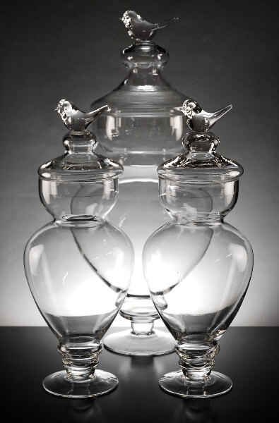 Bird Top Apothecary Jars (Set of 3)