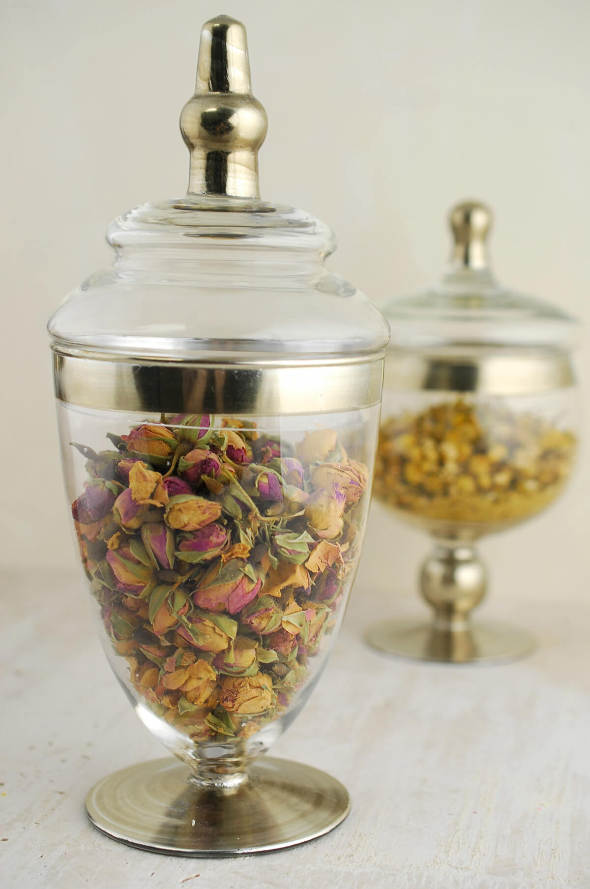 """Set of 3 Small Apothecary Jars  8 & 10"""""""