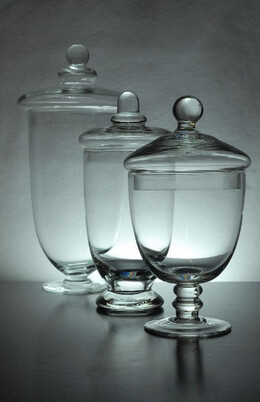 "Set of Three Clear Glass Apothecary Jars 10-3/8"" - 8"" - 7-1/2"""