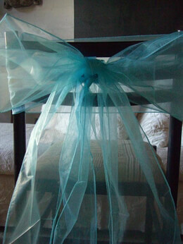 "Aqua Blue Organza Chair Sashes 8"" Wide  (Pack of 10)"