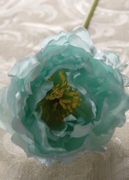 Aqua Blue Peony Silk Flower