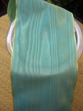Green Aqua Satin Deco Moire Ribbon 3in x 27ft
