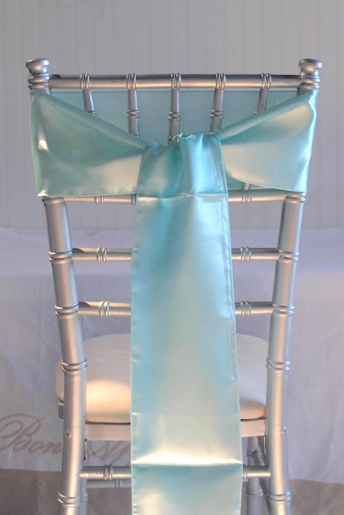 10 Aqua Blue Satin Chair Sashes 6x106