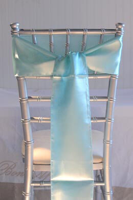 10 Aqua Blue Satin Chair Sashes 6x106