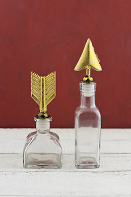 2 Glass Bottles with Arrow Stoppers