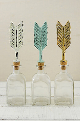 3 Decorative Arrow Glass Bottles