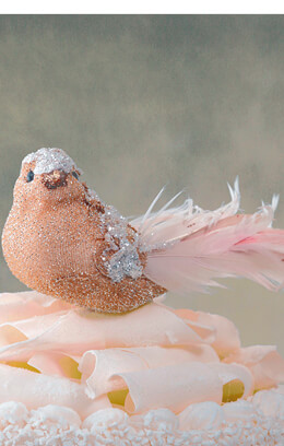 "Pink& Copper Feathered 8"" Artificial Bird"