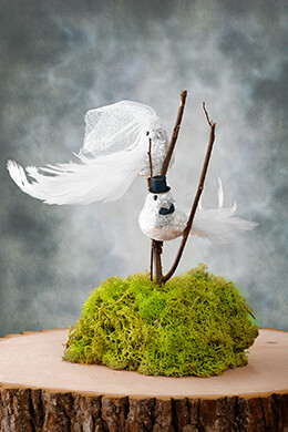 Artificial Birds Bride & Groom White