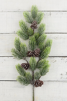 12 Artificial Pine Branches with Pine Cones 19in