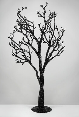 Decorative Tree with Black Glitter 39in