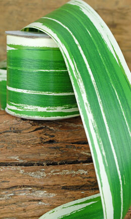 Aspidistra Floral Ribbon Green and Cream 4in x 50yd