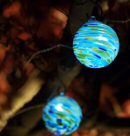 Solar String Lights Blue Glass