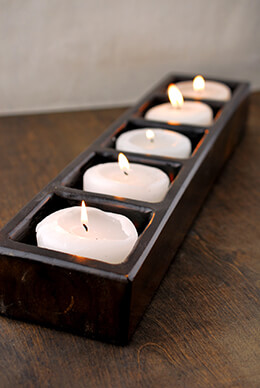Handmade Wood 5-Light Candle Holder