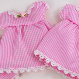 12 Baby Shower Favor Bags  Pink  Baby Girl Checkered Dress
