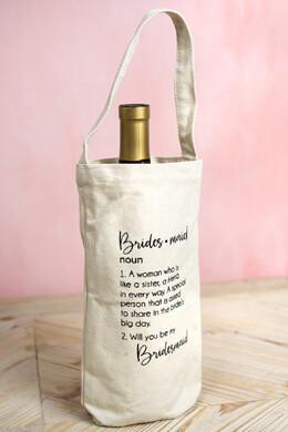 "Bridesmaid ""Ask"" Wine Bottle Canvas Bag"