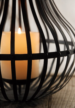 """Bali Bamboo & Metal Lantern 24"""" Candle Holder"""