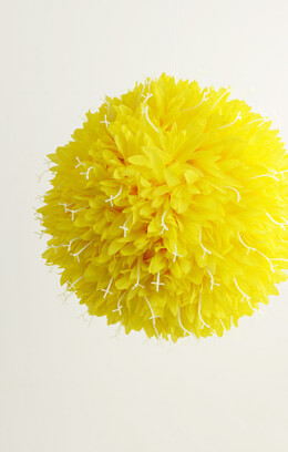 "Yellow 10"" Silk Flower Ball Allium , Ribbon Loop"