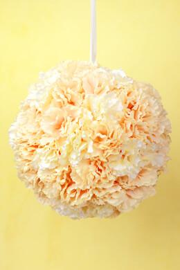 Silk Blush & Cream Carnation 8 Inch Flower Ball, Hanging Decorations, Wedding Decor