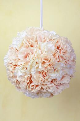 Carnation Flower Ball,  8 Inch Blush & Cream, Hanging Decorations, Wedding Decor