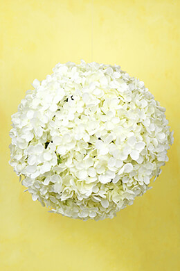 "12"" White Silk Hydrangea Balls, Hanging Decorations, Wedding Flowers"