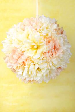 "15"" Silk Flower Cream & Blush Peony Ball, Hanging Decorations, Wedding Decor"