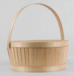 "Bamboo Baskets 10"" Round with Handle"