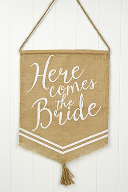 "Wedding Banner Flag "" Here Comes The Bride"" Mud Pie"