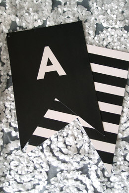 Black and White Letter Banner 60 Pieces