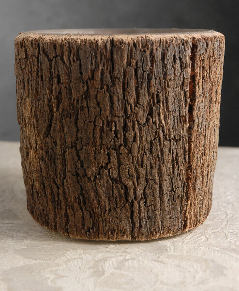 Natural Bark Covered 5.5 Cylinder Timber Vases