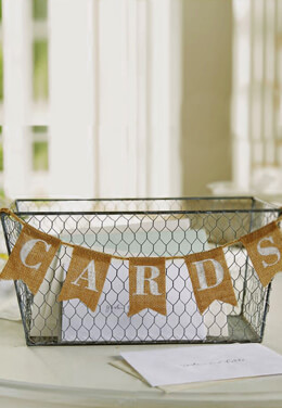 Mud Pie Wedding Card Wire Basket, Burlap Banner,  7x14